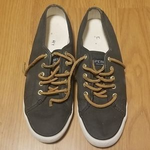 Black and Brown Sperry Sneakers